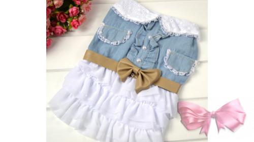 Платье джинсовое с бантиком