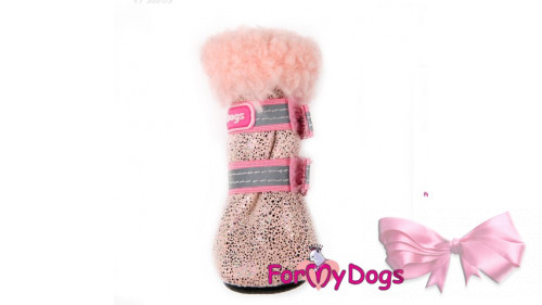 Зимние сапоги для собак ForMyDogs розовые