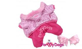 Зимний комбинезон с капюшоном для собак ForMyDogs розовый