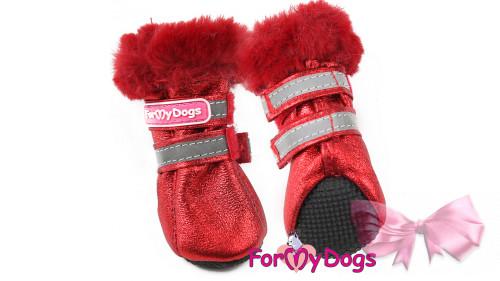 Сапоги для собак зимние ForMyDogs красные на мягкой подошве