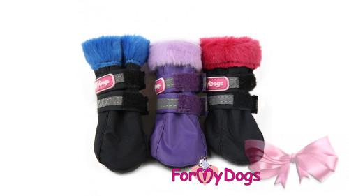 Сапоги для собак ForMyDogs черно-красные ПВХ мягкая подошва
